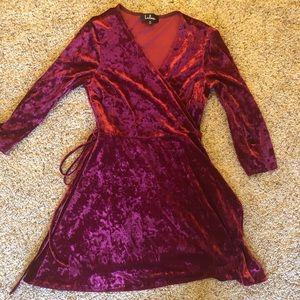 red velvet dress from lulus